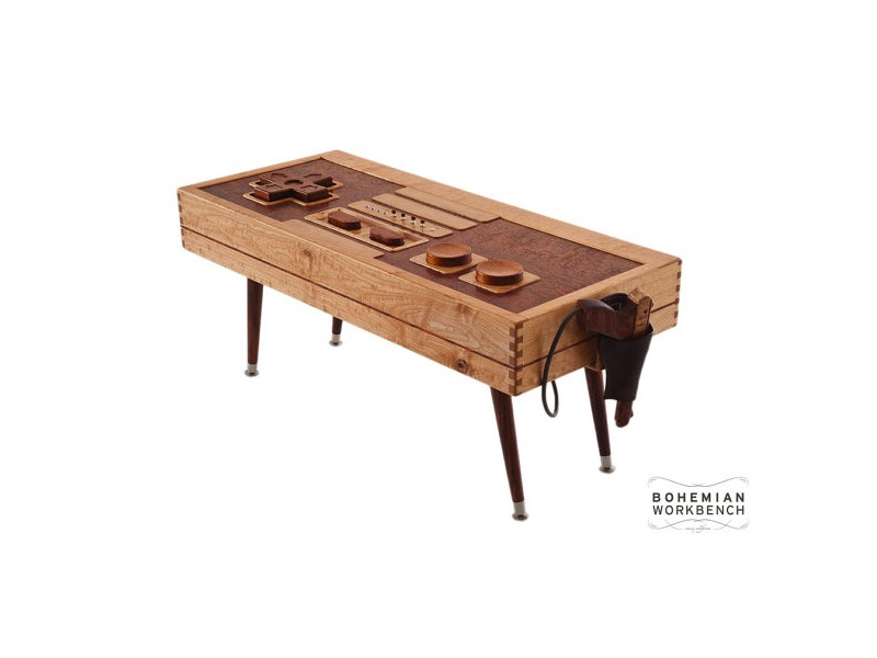 A Functional 8 Bit Retro Gaming Controller Table Made From Premium Grade Curly Maple Birdseye African Bubinga And Mahogany