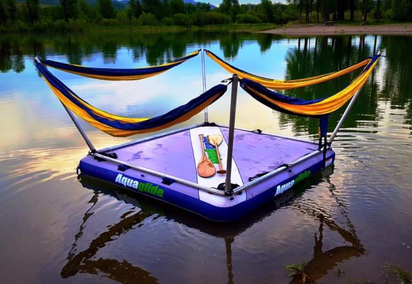 Relax in a floating hammock